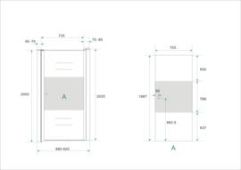 Wiesbaden nisdeur met muurprofiel + 1/3 mat glas (70, 80, 90 of 100 cm) 8 mm glas, rechts