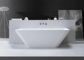 Solid surface semi-vrijstaand bad Inge 179x84,5x57,5 cm mat wit