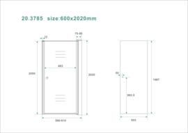 Wiesbaden nisdeur met profiel 60x202 cm 8mm NANO rookglas