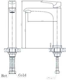 Wiesbaden Tarma éénhendel wastafelmengkraan (26 cm hoog) chroom, wit-chroom of zwart-chroom