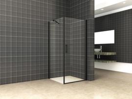 Uni douchecabine draaideur met zijwand 100x100 cm mat zwart met helder glas 8mm NANO