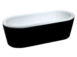 Wiesbaden Nero vrijstaand ligbad 178x80x55,5 cm zwart/wit acryl