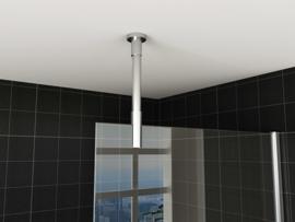 Wiesbaden stabilisatiestang compleet plafondbevestiging rond 100 cm inkortbaar, chroom