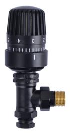 Thermostatische radiatorventiel 1/2''x15mm haaks mat-zwart