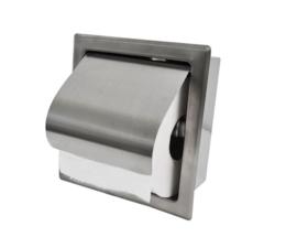 Sunk inbouw toiletrolhouder met klep RVS