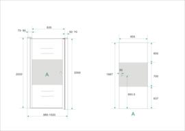 Wiesbaden nisdeur met muurprofiel + 1/3 mat glas (70, 80, 90 of 100 cm) 8 mm glas, links