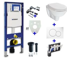 Geberit UP320 + Trevi wandcloset en zitting + drukplaat + toiletblokhouder + isolatieset en bevestigingsset