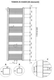 Tower sierradiator mat-zwart 182x60 cm m/o aansl.