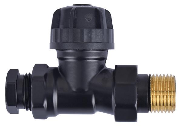 Thermostatisch ventiel zonder knop 1/2 recht+adaptor mat-zwart