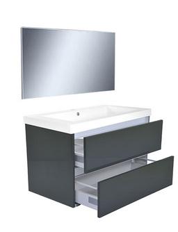 Vision meubelset (incl. spiegel) 80 cm hoogglans grijs