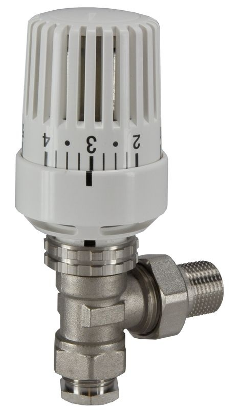 "Thermostatisch radiatorventiel + thermostaatknop 1/2""x15 mm haaks"