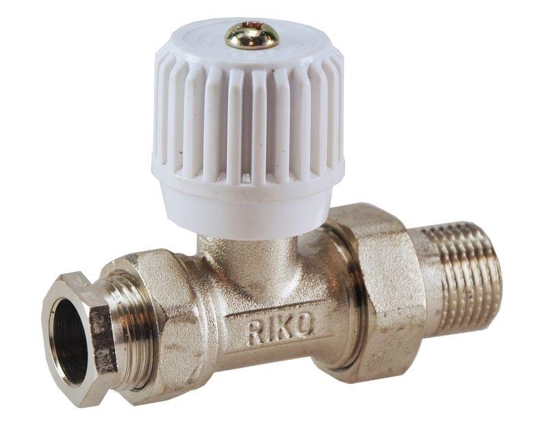 """Riko radiatorventiel + adaptor 15 mm 1/2"""" recht of haaks"""