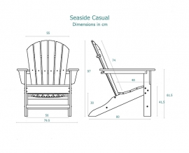 Adirondack shellback chair -  Slate (14018)