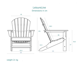 LeisureLine Adirondack - White