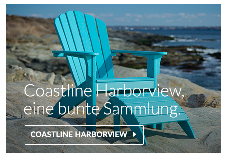 Coastline Harborview Adirondack, Amerikanische Stuhl aus recyceltem Kunststoff gefertigt, polywood, envirowood