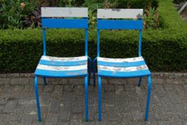 Retro stoeltjes blauw/wit