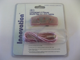 GBA Universal 4 Player Muli-Tap & Link Cable 'Pink' (New)