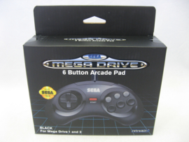 Retro-Bit Official SEGA Megadrive 6 Button Arcade Pad 'Black' (New)