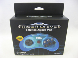Retro-Bit Official SEGA Megadrive 6 Button Arcade Pad 'Clear Blue' (New)