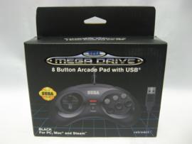 Retro-Bit Official SEGA Megadrive 8 Button Arcade Pad with USB 'Black' (New)