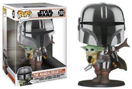 POP! The Mandalorian (Chrome) w/ The Child - Star Wars The Mandalorian - 10'' Super Sized Pop! (New)