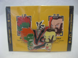 Street Fighter Enamel Keychain - Green Blanka vs Red Zangief - Kidrobot (New)