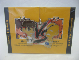 Street Fighter Enamel Keychain - White Ryu vs Blue Sagat - Kidrobot (New)