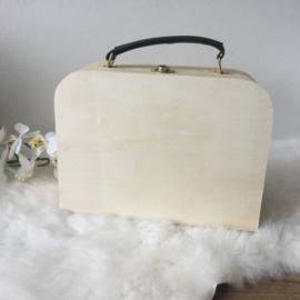 Blank houten koffertje