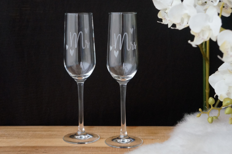 Set Gegraveerde glazen Huwelijk