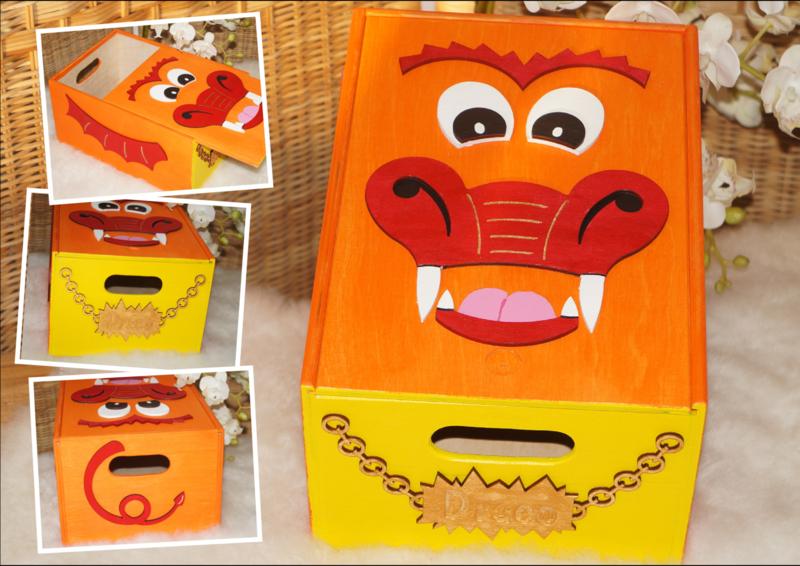 Draco Handgeschilderde kist met schuifdeksel