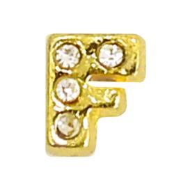 Letter F goudkleur, charm voor in het medaillon