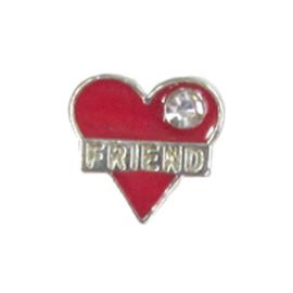 hartje friend rood, charm voor in het medaillon