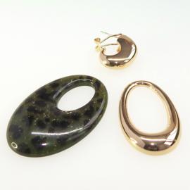 3 delige druppel oorbellen, groen