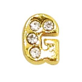 Letter G goudkleur, charm voor in het medaillon