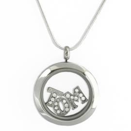 stainless steel  locket memory medaillon met luxe zilveren slangenketting