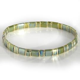 Ibiza boho armband green & gold