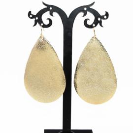 grote metallic oorbellen Golden leaves