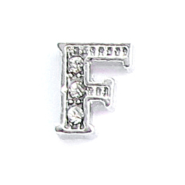 letter F, charm voor in het medaillon