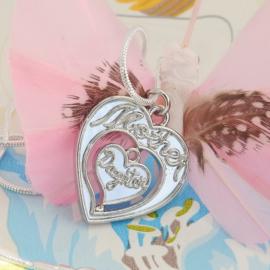 Mother Daughter  hart met luxe zilveren slangenketting