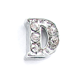 letter D, charm voor in het medaillon