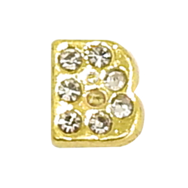 letter B goudkleur, charm voor in het medaillon