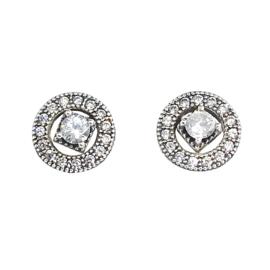 zilveren Fashion oorbellen, twee delig