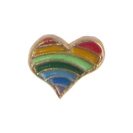 hartje regenboog, charm voor in het medaillon
