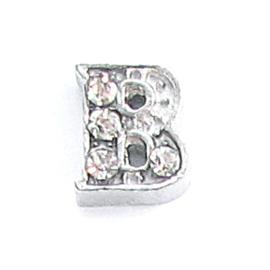 letter B zilverkleur, charm voor in het medaillon