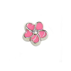 bloem roze floating charm voor in het medaillon