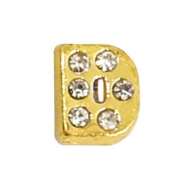 letter D goudkleur, charm voor in het medaillon