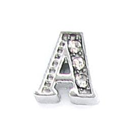 letter A zilverkleur, charm voor in het medaillon