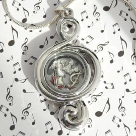 muzieksleutel  locket medaillon met luxe zilveren ketting