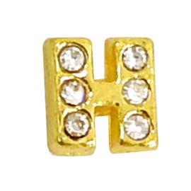 Letter H goudkleur, charm voor in het medaillon