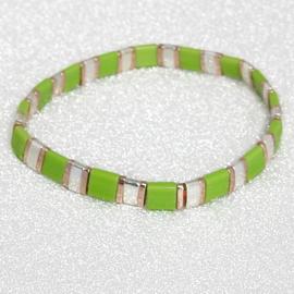 Ibiza boho armband light green & silver